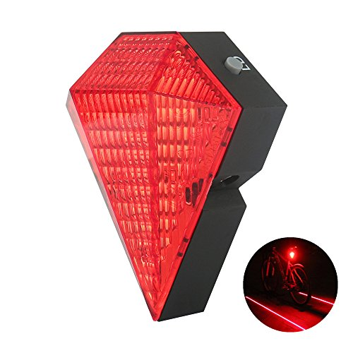 lanji Bike Tail Lights USB Rechargeable Bike Cycling Safety Zone Tail Light 8 LED with 2 Red Laser Rear Lamp Safety Zone Tail Light Red (Light Safety Laser)