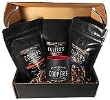 Whiskey & Rum Barrel Aged Coffee Ground & Mug Box Set, Gift Box 3 Bag Sampler Set & Custom Barrel Mug, Single Origin Sumatra Whiskey, Ethiopian Rye, Rwanda Rum, Total 12oz, 100% Guaranteed