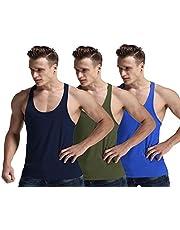 Men Fashion Blank Stringer Y Back Cotton Gym Sleeveless Shirts Tank Top