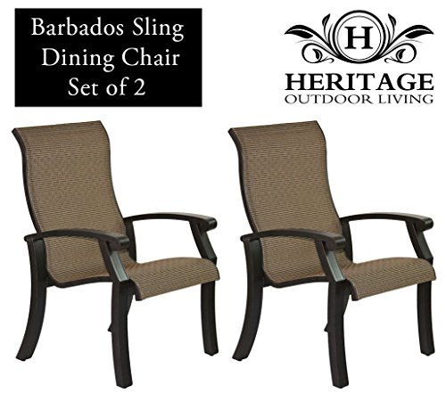 Heritage Outdoor Living Cast Aluminum Barbados Sling Outdoor Patio Dining Chair - Antique Bronze Finish - Set of 2