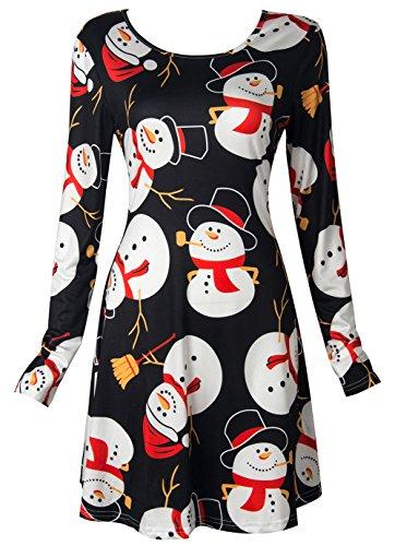Scothen Mangas largas para Mujer Olaf Santa Regalos Campanas de Pan de Jengibre Navidad Impreso de la Novedad Vestido de Oscilación abullonado Top Festivo Vestido de Fiesta Vestido de Coctel F