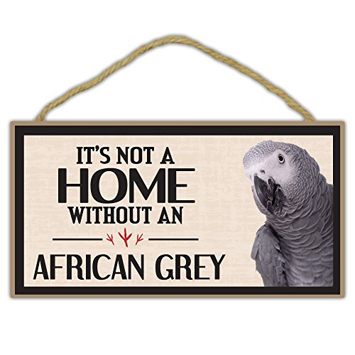 Crazy Sticker Guy Wooden Decorative Bird Sign - It's Not A Home Without an African Grey Parrot - Home Decor, Gifts, Decoration, Bird Lovers