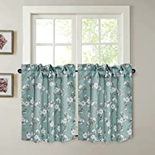 "Energy Saving Ultra Soft Casual Kitchen Curtains Rod Pocket Window Curtain Tiers for Café, Bath, Laundry, Bedroom - Aqua Floral Pattern - (58""W x 24""L Pair of Tiers)"