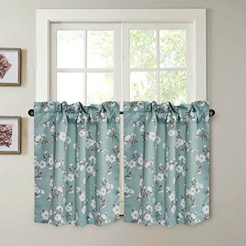 (H.VERSAILTEX Energy Saving Ultra Soft Casual Kitchen Curtains Rod Pocket Window Curtain Tiers for Café, Bath, Laundry, Bedroom - Aqua Floral Pattern - (58