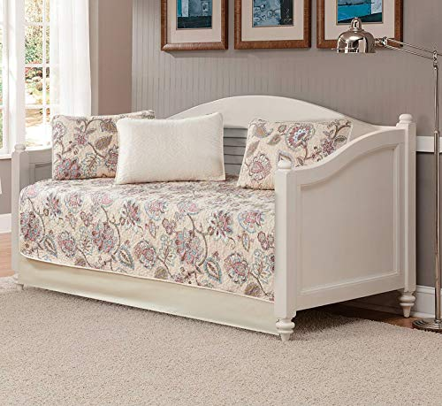 Luxury Home Collection 5 Piece Daybed Quilted Reversible Coverlet Bedspread Set Floral Printed Beige Pink Blue #Hilton - Bedding Collection Daybed