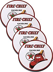 Texaco Fire-chief Gasoline New Vintage Appearance Reproduction on Neoprene Coaster Set of 4