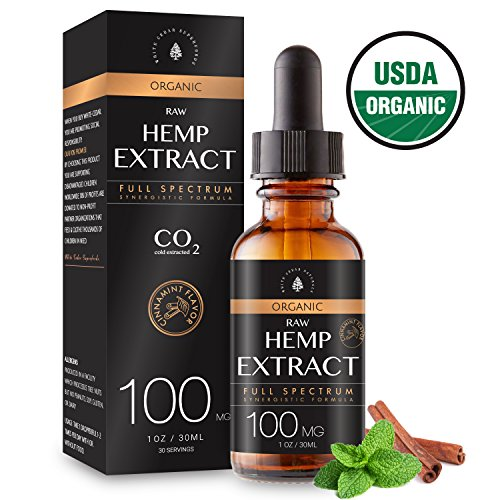 Hemp Plant - USDA Organic Hemp Extract for Pain & Anxiety Relief (100MG), Cinnamint Flavor, Full Spectrum, Blended with Organic Hemp Seed Oil for Optimal Absorption, CO2 Cold Extracted, Kosher, Vegan, GF, 1oz