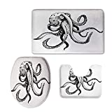 3 Piece Anti-Slip mat Set,Octopus Decor,Smiling Shy Octopus Posing Restaurant Comic Fun Doodle Art Illustration Print,Black White,3D Digital,Printing