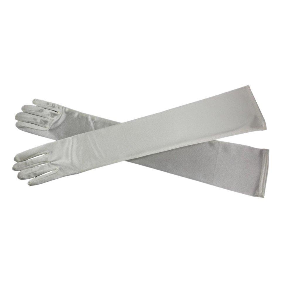 DreamHigh Women's Party Wedding 21'' Long Satin Finger Gloves Silver