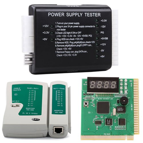 Pci Diagnostics Post Test Card (HDE PC and Network Test Kit - Motherboard POST Analyzer Network Cable Tester & Power Supply Tester)