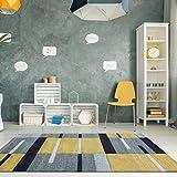Ochre Mustard Yellow Gold Colour Patchwork Bohemian Squares Design Living Room Floor Rug 120cm x 170cm