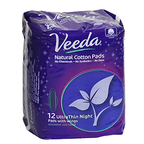 (Veeda,100% Hypoallergenic, Natural Cotton, Chemical Free, Biodegradable, Unscented, Ultra Thin Night Pads with Wings - 12 Count)