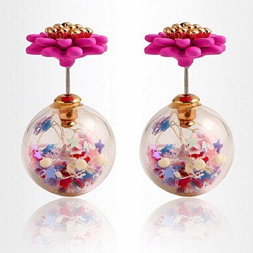 Candy Colored Earrings Double Sided Fashion Pearl Round Hollow Transport Ball Earrings Flower Jewelry - Pave Candy