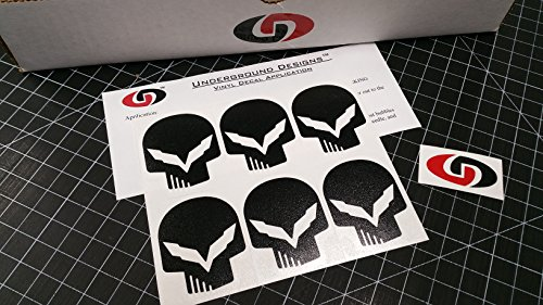 UNDERGROUND DESIGNS C7 Mini Skull Decal Corvette Jake Skull Sticker Z06 Z07 LT1 LT4 Select Color: (Matte Black)
