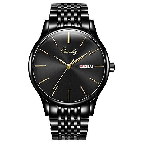 BOS Men's Ultra-Thin Quartz Stainless Steel Watch Fashion Business Wateproof Wrist Watch Metal band