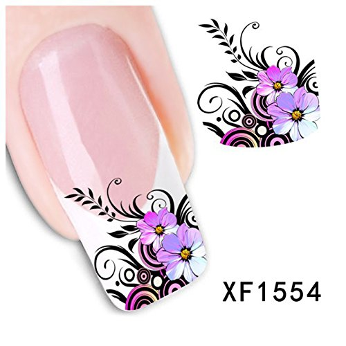 JIEPING 1 Sheet 3D Flower Nail Art Sticker Water Transfer Sticker 3D DIY Nail Decoration Nail Art Decal Sticker Flower and Leaf - Sheet Flowers 1