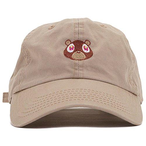 Jojoshine Bear Embroidered Washed Cap Unisex Cotton Cap Adjustable Plain Hat (Kanye West Sonnenbrille)