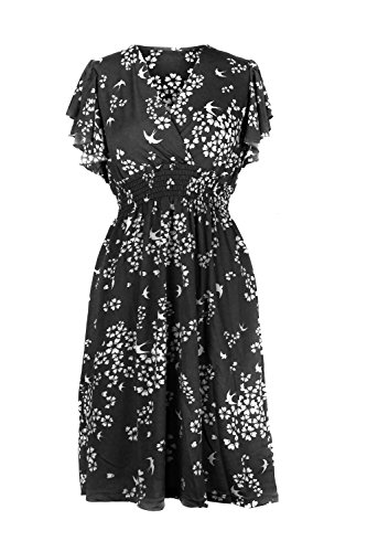 Printed a13 Midi Dress Stretch Women's Summer Casual Patterned Spring Black G2 Chic x6wCq7HXWO