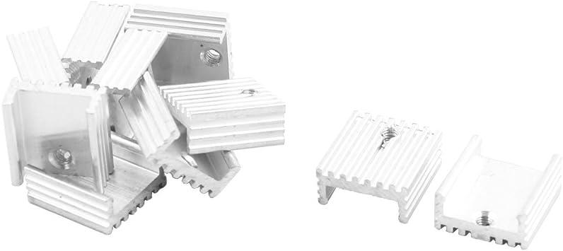 NA 10-Piece Silver Tone Aluminum Radiator heatsink 20 mm x 14 mm x 6 mm