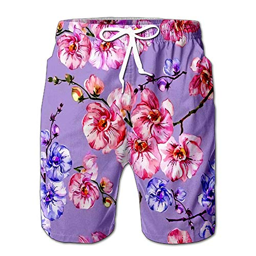- Blue and Pink Orchid Flowers On Light Lilac Floral Men Swimwear Volley Pants Pocket XXL
