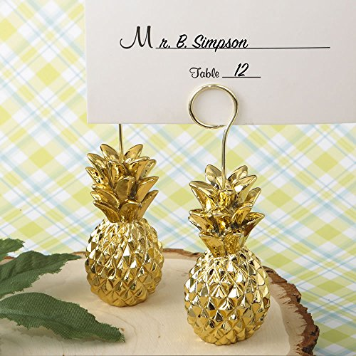 FavorOnline Warm Welcome Collection Gold Pineapple Themed Place Card Holders, 20