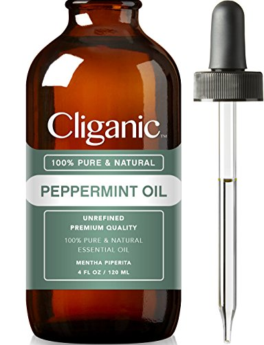 Cliganic™ 100% Pure Peppermint Essential Oil (4oz) | Natural Peppermint Oil to Repel Mice / Spiders, Best for Hair, Migraines & Aromatherapy | Mentha Piperita Plant | 100% Satisfaction Guarantee