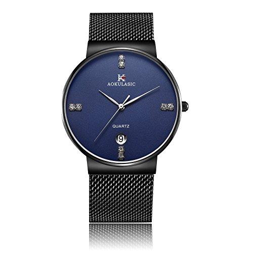 YIIYAA Men's Wrist Quartz Analog Watch Waterproof 30M Business Casual Watches Luxury Watch for Men with Stainless Steel Case Black Belt (Hamilton Vintage Wrist Watch)