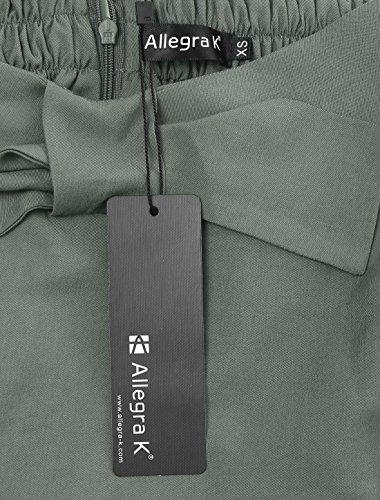 Allegra K Mujer Falda con Cinturilla Ajustable Parcialmente Lazo Frontal A-Line