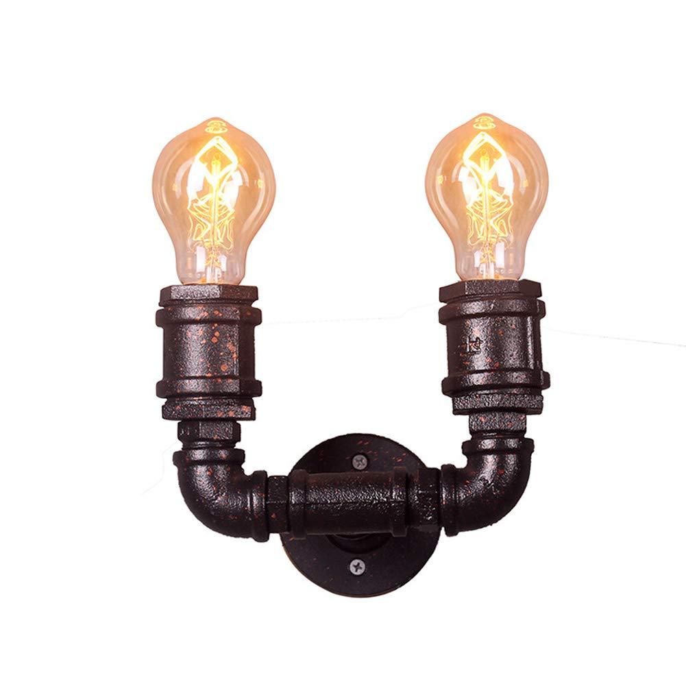 Industrie Retro Wandleuchten,Wasserrohr Wandlampe Steampunk Vintage Lampe Metall 2 Lampenfassung Art Deco Licht für Schlafzimmer, Wohnzimmer, Küche, LOFT, Bar, Restaurant, Café E27 Buchse Maß 60W
