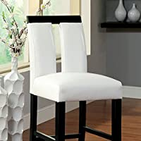 Luminar II Contemporary Counter Height Chair With white Pu-Cal.Foam, Black Finish