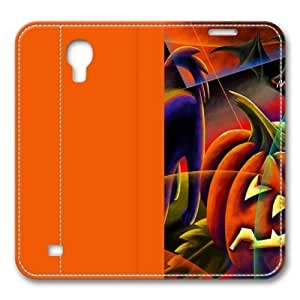 Cats Halloween Evil Artwork Pumpkins Smart Case Cover with Back Case for Samsung Galaxy S4/I9500