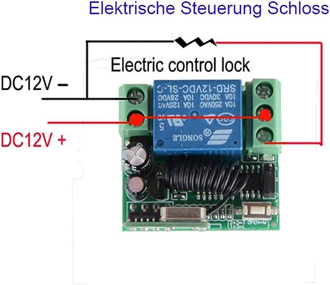 DC12V R/écepteur radio /émetteur t/él/écommand/é Syst/ème Lumi/ère//LED Lampe Pompe /à eau Couvercle Poussoir /Émetteur R/écepteur /Émetteur R/écepteur Sans Fil Porte de Garage 433Mhz 1
