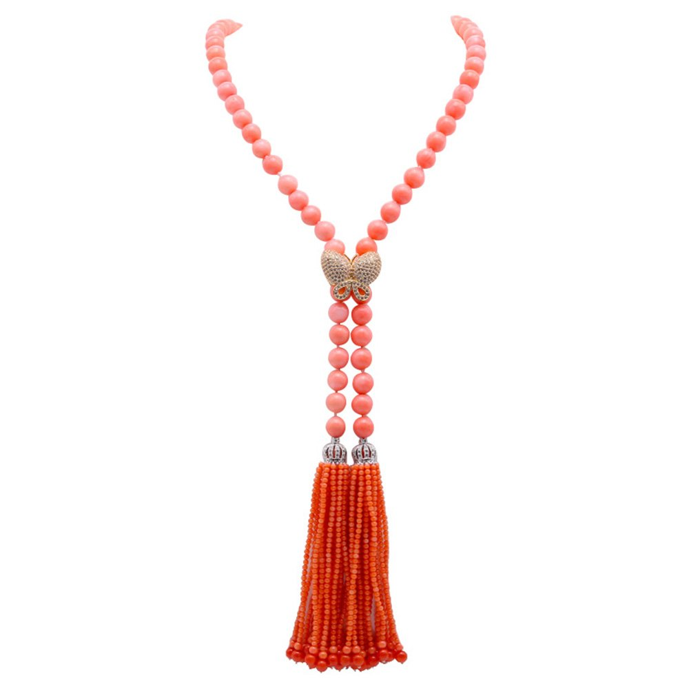 JYX Beautiful 9mm Pink Coral Opera Necklace Tassel Necklace 42''
