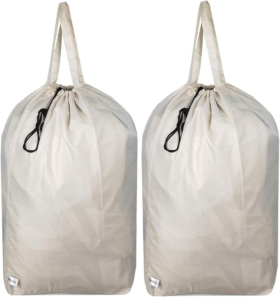 UniLiGis Washable Travel Laundry Bag with Handles and Drawstring (2 Pack), Heavy Duty Large Enough to Hold 3 Loads of Laundry, Fit a Laundry Basket or Clothes Hamper, 27.5x34.5 in,Rice White