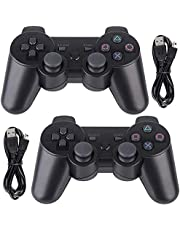 Tidoom PS3 Controller 2 Pack Wireless Bluetooth Gamepad Controllers Compatible for Playstation 3 Controller PS3 Wireless Controller Black