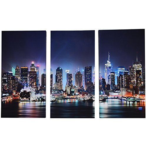 Pictures New York City Skyline - Best 3 Panel Canvas Wall Art for Men & Women, Modern New York City Skyline Print Photograph, Hanging Decorative Painting Artwork for Kitchen, Bedroom, Office, Living Room, Home Decor Gift, 24