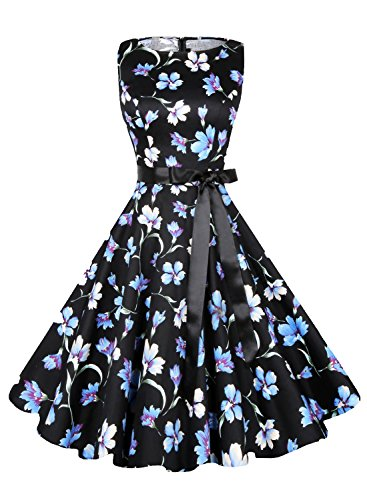Anni Coco Women's 1950s Hepburn Vintage Swing Dresses With Ribbon Belt Flower Blue XX-Large