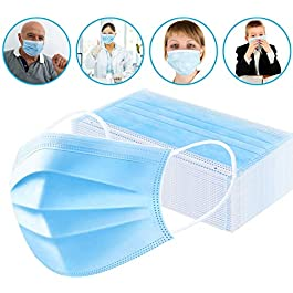Medical Mask Disposable Face Mask (Blue-30Pcs) Earloop Mouth Mask, Comfortable Sanitary Surgical Mask for Dust, Protection and Personal Health Professional 3-Layer Anti Dust Breathable
