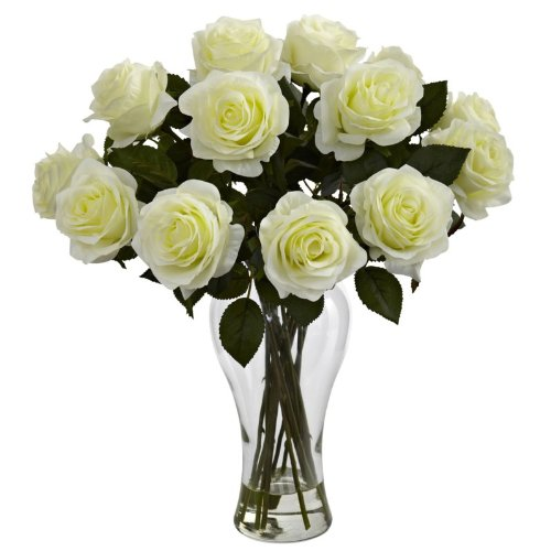 Nearly-Natural-Home-Indoor-Decorative-Tabletop-Fancy-Blooming-Roses-With-Vase-White