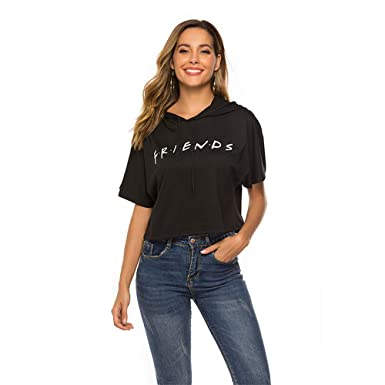5a16da25f4e LHAYY Women's Teen Girls Casual Loose Crop Top Cotton Letters Print  Pullover Long Sleeve Shirt (