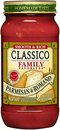 Classico Family Favorite Parmesan and Romano Tomato Sauce, 24 Ounce Homemade Tomato Sauce