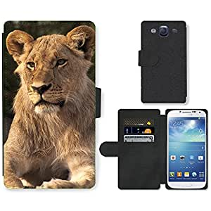 Hot Style Cell Phone Card Slot PU Leather Wallet Case // M99999008 Lion // Samsung Galaxy S3 S III SIII i9300