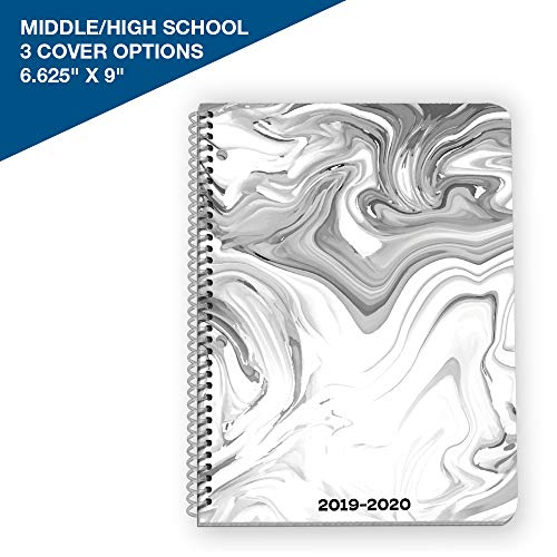 "2019-2020 Middle/High School Matrix Style Student Planner, 6.625"" x 9"" Mid-Size with Marble Cover by School Datebooks"