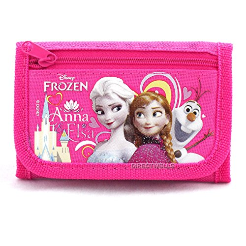 - Disney Frozen Elsa Anna and Olaf Character Hot Pink Trifold Wallet
