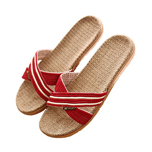 fereshte Unisex Women's Men's Cotton Flax Linen Stripe Flat Skidproof Open-Toe Indoor House Hotel Travel Slippers 712 Red Women 2B0NNn2oG