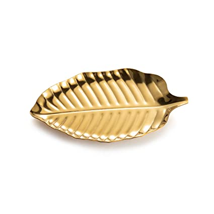 IMEEA Small Trinket Tray Ring Dish Gold Leaf Jewelry Bowl Dish Vanity Tray  Stainless Steel
