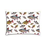 Kichtime Fashion Zippered Pillow Case Fish School Pillow Cover 20X30 Twin Sides