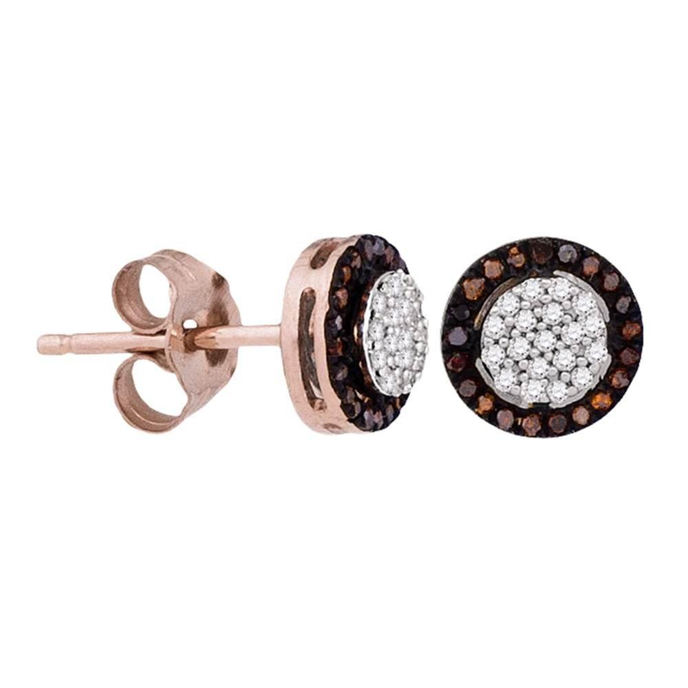 Amazon.com  10K Rose Gold Oval Shape Halo Studs Channel Set White    Chocolate Brown Diamond Earrings (.18 cttw.)  Jewelry 12135fa771c5