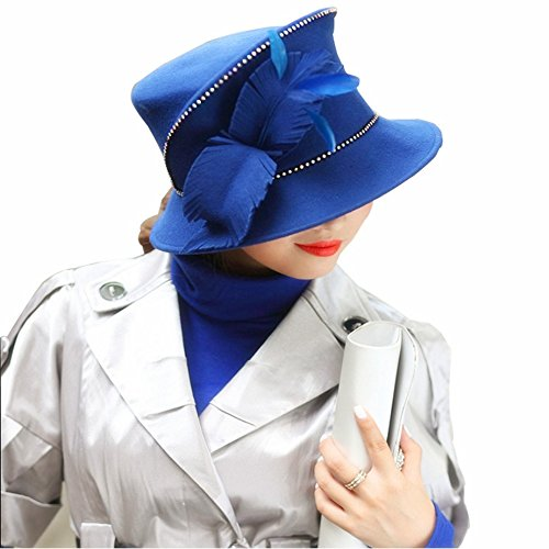 Fedora Rhinestone (June'syoung Ladies' Hats Women Hats Fedora Wool Feather Rhinestones)