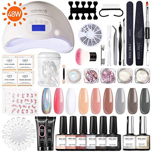 Modelones Gel Nail Polish Starter Kit with UV Light,48W UV/LED Lamp,Soak off Poly Nail Gel Glitter Powder Manicure Tools,6 Gel Polish 10ml (Nails Gel Starter Kit)